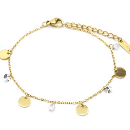 Bracelet-Chaine-avec-Pampilles-Rondes-Acier-Dore-et-Pierres-Blanches