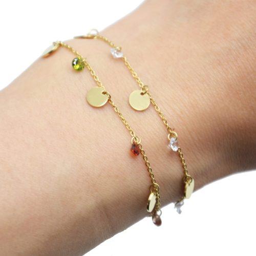 Bracelet-Chaine-avec-Pampilles-Rondes-Acier-Dore-et-Pierres