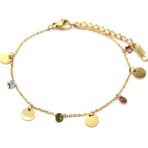 Bracelet-Chaine-avec-Pampilles-Rondes-Acier-Dore-et-Pierres-Multicolores