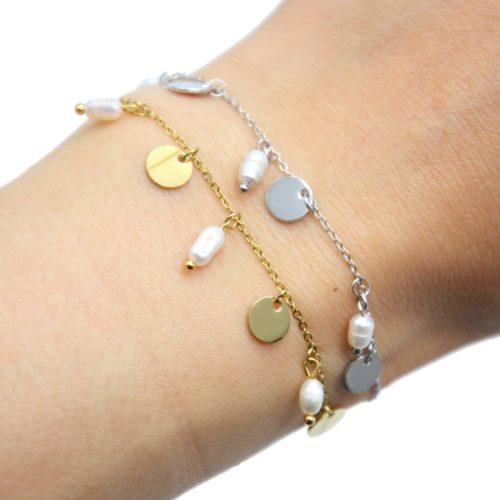Bracelet-Chaine-avec-Pampilles-Rondes-Acier-et-Perles-d-Eau-Douce