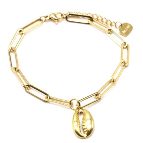 Bracelet-Chaine-Maillons-Ovales-avec-Cauri-Acier-Dore