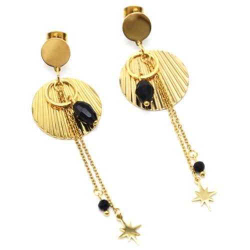 Boucles-dOreilles-Medailles-Rayures-Acier-Dore-avec-Perles-Noires-et-Etoile