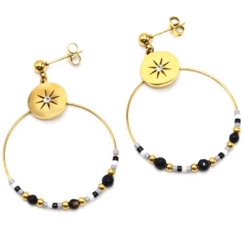 Boucles-dOreilles-Medaille-Etoile-et-Creole-Acier-Dore-avec-Perles-Noir-Gris-Blanc