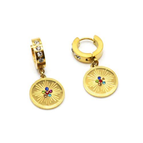 Boucles-dOreilles-Mini-Creoles-Strass-Blanc-avec-Medaille-Soleil-Acier-Dore-et-Multicolore