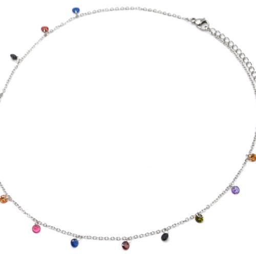 Collier-Fine-Chaine-Acier-Argente-avec-Pampilles-Pierres-Rondes-Multicolore