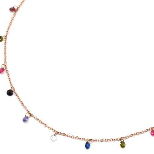 Collier-Fine-Chaine-Acier-Or-Rose-avec-Pampilles-Pierres-Rondes-Multicolore