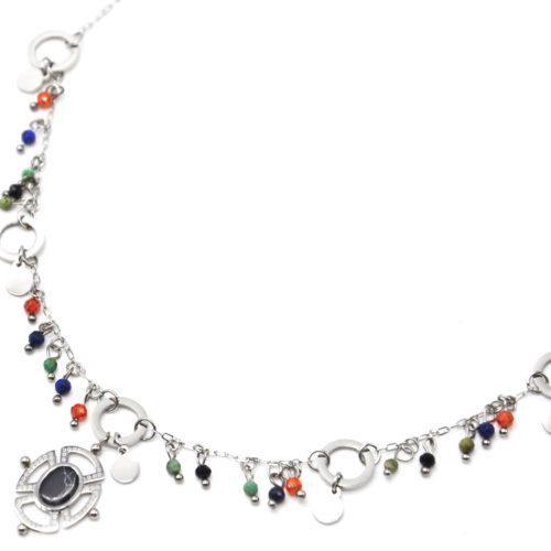 Collier-Chaine-Acier-Argente-avec-Perles-Multicolore-et-Pendentif-Ajoure-Pierre-Noire