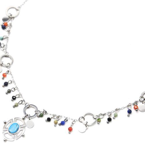 Collier-Chaine-Acier-Argente-avec-Perles-Multicolore-et-Pendentif-Ajoure-Pierre-Turquoise
