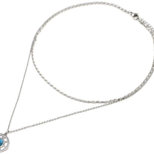 Collier-Double-Chaines-Acier-Argente-Pendentif-Rose-des-Vents-et-Pierre-Turquoise