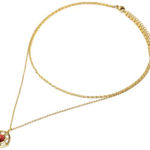 Collier-Double-Chaines-Acier-Dore-Pendentif-Rose-des-Vents-et-Pierre-Rouge