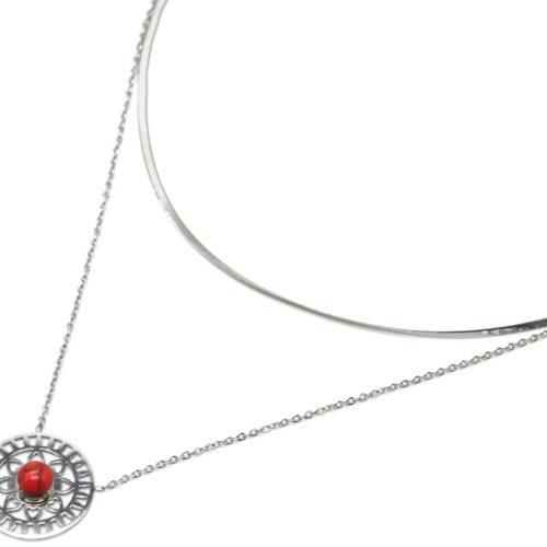 Collier-Double-Chaines-Acier-Argente-Pendentif-Ajoure-Soleil-Fleur-et-Pierre-Rouge