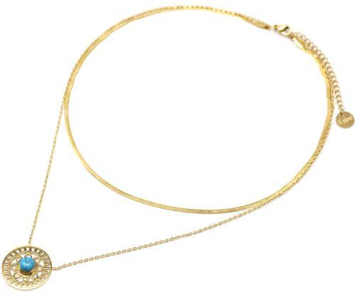 Collier-Double-Chaines-Acier-Dore-Pendentif-Ajoure-Soleil-Fleur-et-Pierre-Turquoise