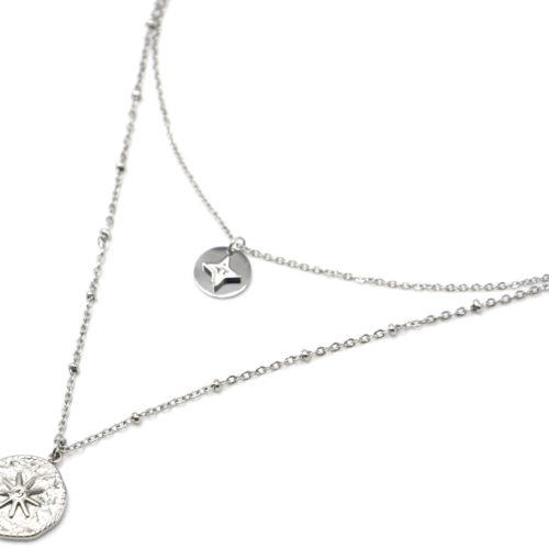 Collier-Double-Chaines-Acier-Argente-avec-Medailles-Etoile-et-Martelee-Soleil