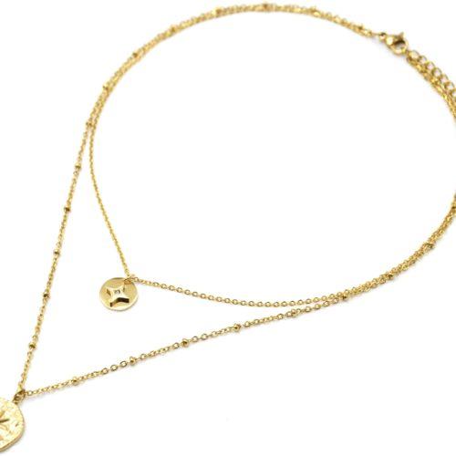 Collier-Double-Chaines-Acier-Dore-avec-Medailles-Etoile-et-Martelee-Soleil