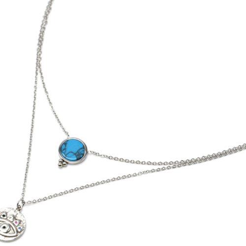 Collier-Double-Chaines-Acier-Argente-avec-Pierre-Turquoise-et-Medaille-Oeil-Strass
