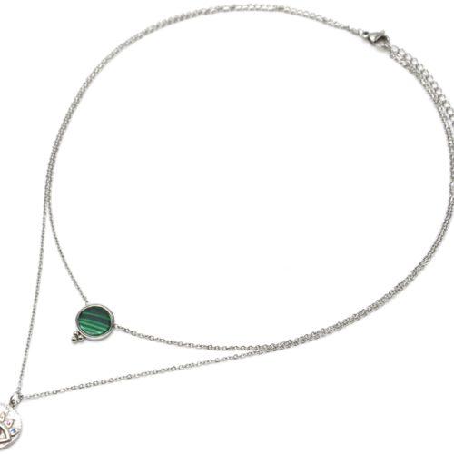 Collier-Double-Chaines-Acier-Argente-avec-Pierre-Verte-et-Medaille-Oeil-Strass