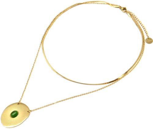 Collier-Double-Chaines-Acier-Dore-avec-Medaille-Rayures-et-Pierre-Verte