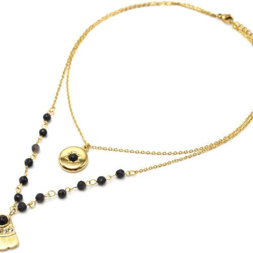 Collier-Double-Chaines-Acier-Dore-avec-Pierres-Noires-Medaille-et-Eventail-Strass