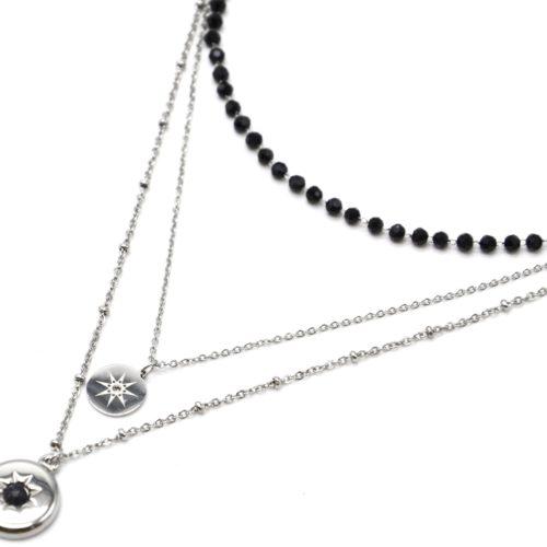 Collier-Triple-Chaines-Acier-Argente-avec-Perles-Noires-et-Medailles-Soleil-Pierre