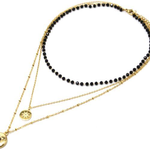 Collier-Triple-Chaines-Acier-Dore-avec-Perles-Noires-et-Medailles-Soleil-Pierre