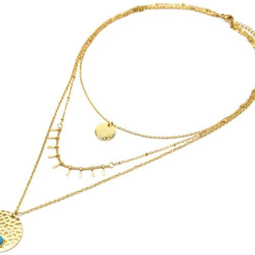 Collier-Triple-Chaines-Acier-Dore-avec-Pampilles-et-Medailles-Ecailles-Pierre-Turquoise