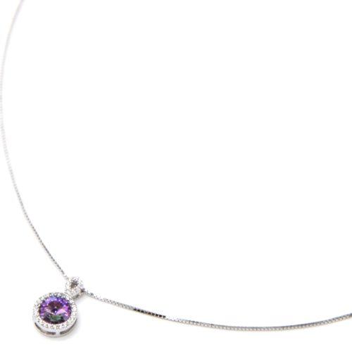 Collier-Fine-Chaine-Argent-925-Pendentif-Pierre-Ronde-Violette-Contour-Strass-Zirconium