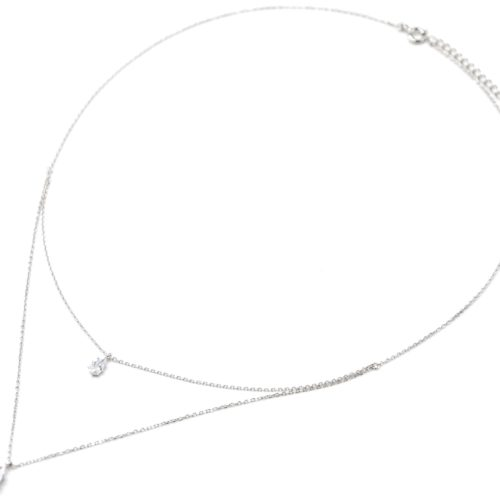 Collier-Double-Chaines-Argent-925-Pendentifs-Pierres-Gouttes-Zirconium