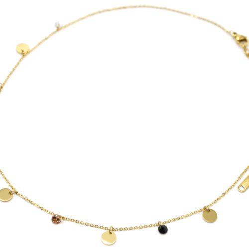 Collier-Chaine-avec-Pampilles-Rondes-Acier-Dore-et-Pierres-Multicolores