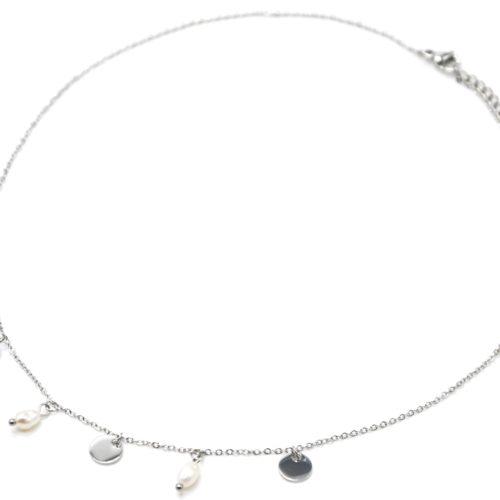 Collier-Chaine-avec-Pampilles-Rondes-Acier-Argente-et-Perles-d-Eau-Douce