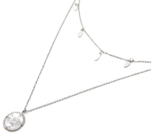 Collier-Double-Chaines-Pampilles-et-Pierre-Verre-Ovale-Soleil-Acier-Argente