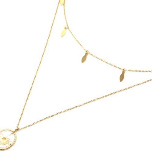 Collier-Double-Chaines-Pampilles-et-Pierre-Verre-Ovale-Soleil-Acier-Dore