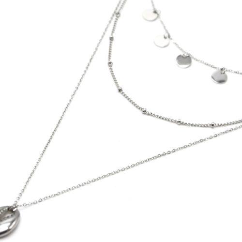Collier-Triple-Chaines-avec-Pampilles-Billes-et-Cauri-Acier-Argente