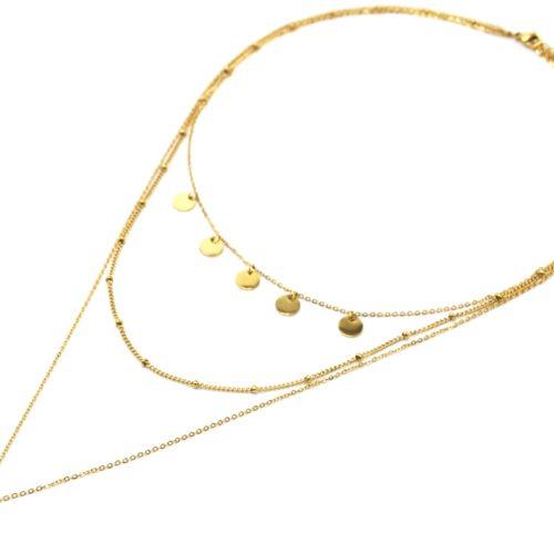 Collier-Triple-Chaines-avec-Pampilles-Billes-et-Cauri-Acier-Dore
