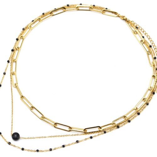 Collier-Triple-Chaines-Maillons-Acier-Dore-Mini-Perles-Email-et-Pierre-Noire