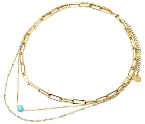 Collier-Triple-Chaines-Maillons-Acier-Dore-Mini-Perles-Email-et-Pierre-Turquoise