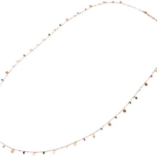 Sautoir-Collier-Chaine-Acier-Or-Rose-Pampilles-Coeurs-Etoiles-et-Pierres-Multicolore