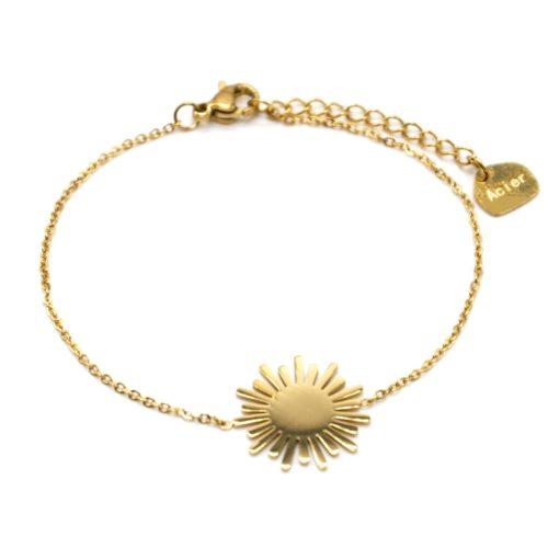 Bracelet-Fine-Chaine-avec-Soleil-Acier-Dore
