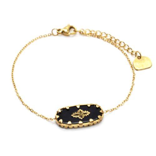 Bracelet-Chaine-avec-Pierre-Rectangle-Noire-Motif-Baroque-Acier-Dore