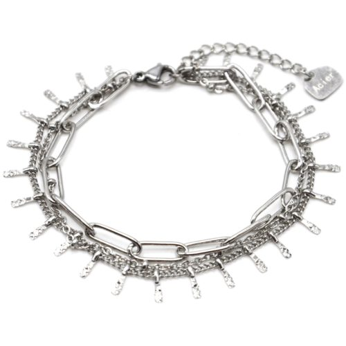Bracelet-Triple-avec-Maillons-Chaine-Billes-et-Pampilles-Acier-Argente