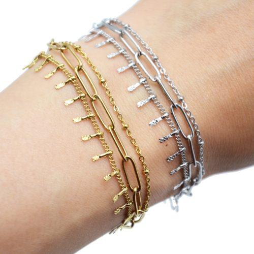 Bracelet-Triple-avec-Maillons-Chaine-Billes-et-Pampilles-Acier