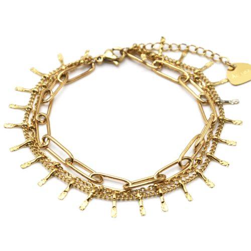 Bracelet-Triple-avec-Maillons-Chaine-Billes-et-Pampilles-Acier-Dore