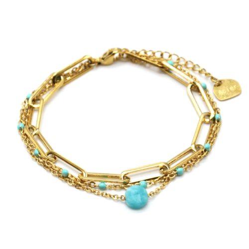 Bracelet-Triple-Chaines-avec-Maillons-Acier-Dore-Mini-Perles-Email-et-Pierre-Turquoise
