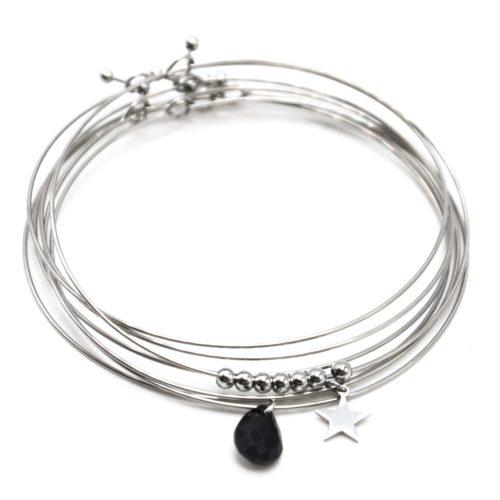 Bracelet-Semainier-Multi-Joncs-Acier-Argente-avec-Billes-Etoile-et-Perle-Goutte-Noire