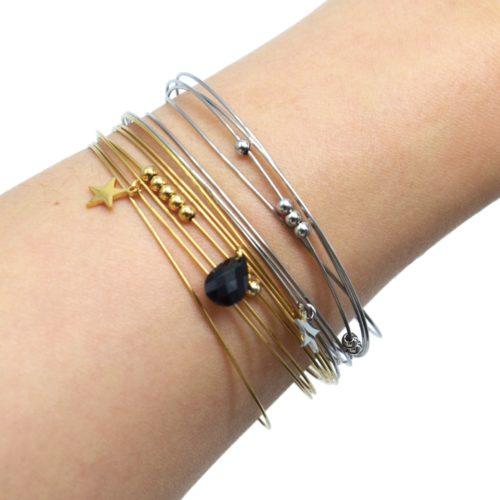 Bracelet-Semainier-Multi-Joncs-Acier-avec-Billes-Etoile-et-Perle-Goutte-Noire