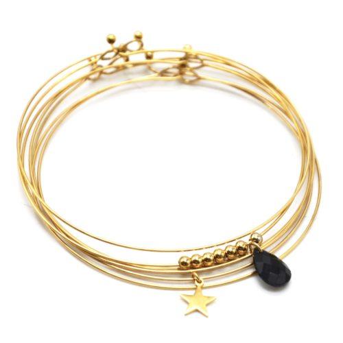 Bracelet-Semainier-Multi-Joncs-Acier-Dore-avec-Billes-Etoile-et-Perle-Goutte-Noire