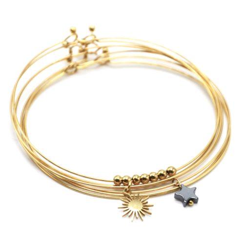 Bracelet-Semainier-Multi-Joncs-Acier-Dore-avec-Billes-Soleil-et-Perle-Etoile-Grise
