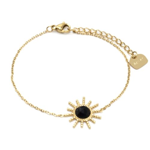 Bracelet-Chaine-avec-Soleil-Points-Acier-Dore-et-Pierre-Noire