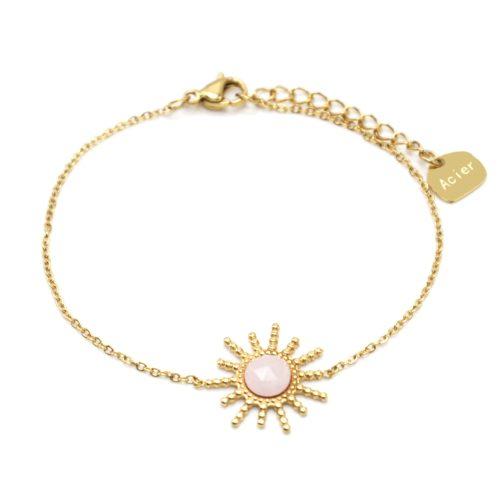 Bracelet-Chaine-avec-Soleil-Points-Acier-Dore-et-Pierre-Rose-Pale