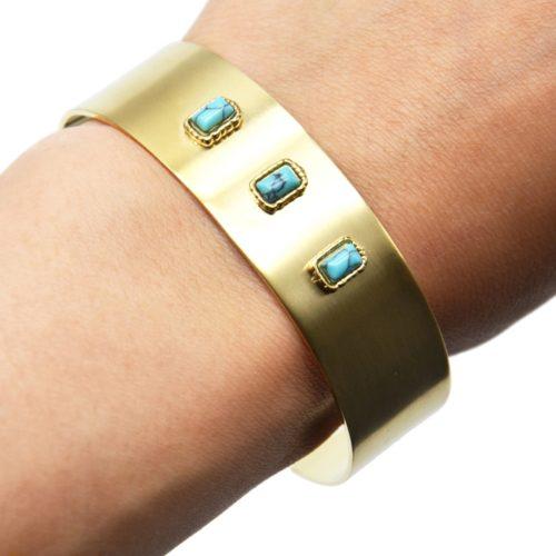 Bracelet-Manchette-Acier-Dore-avec-Triple-Pierres-Turquoise-Effet-Marbre