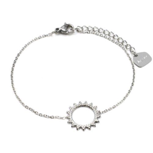 Bracelet-Fine-Chaine-avec-Soleil-Contour-Points-Acier-Argente